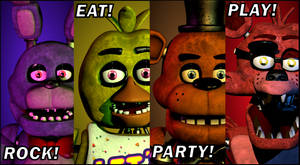 That One FNAF 2 Poster But With The FNAF 1 Crew