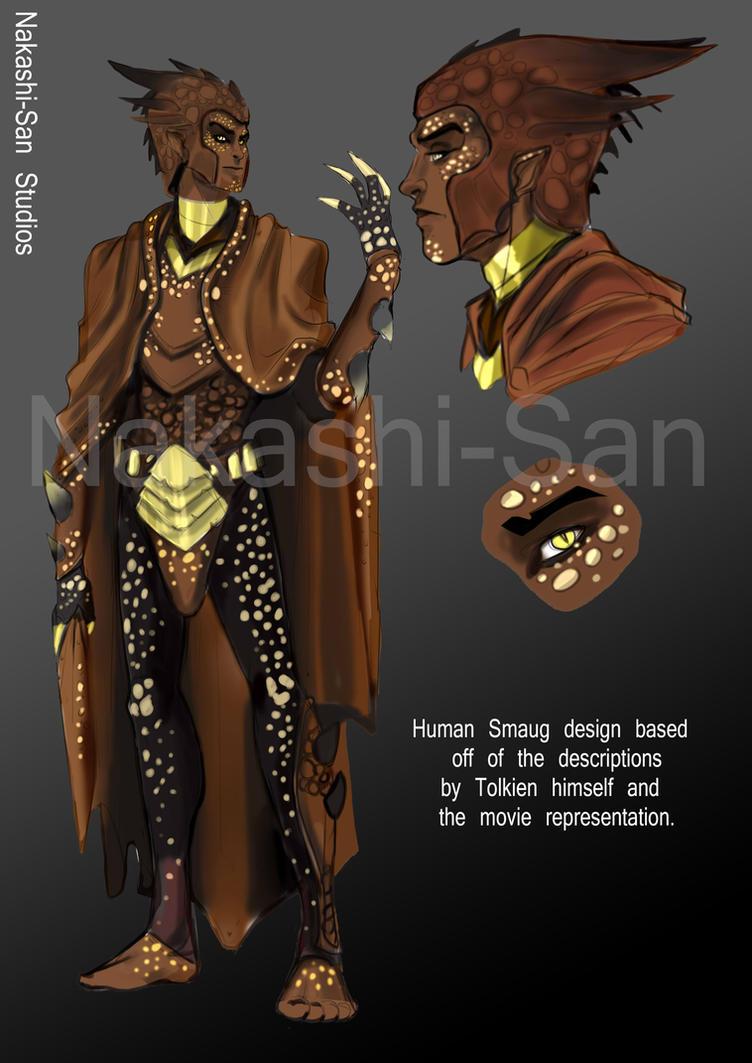 Human Smaug character design sheet by NakashiOroshu