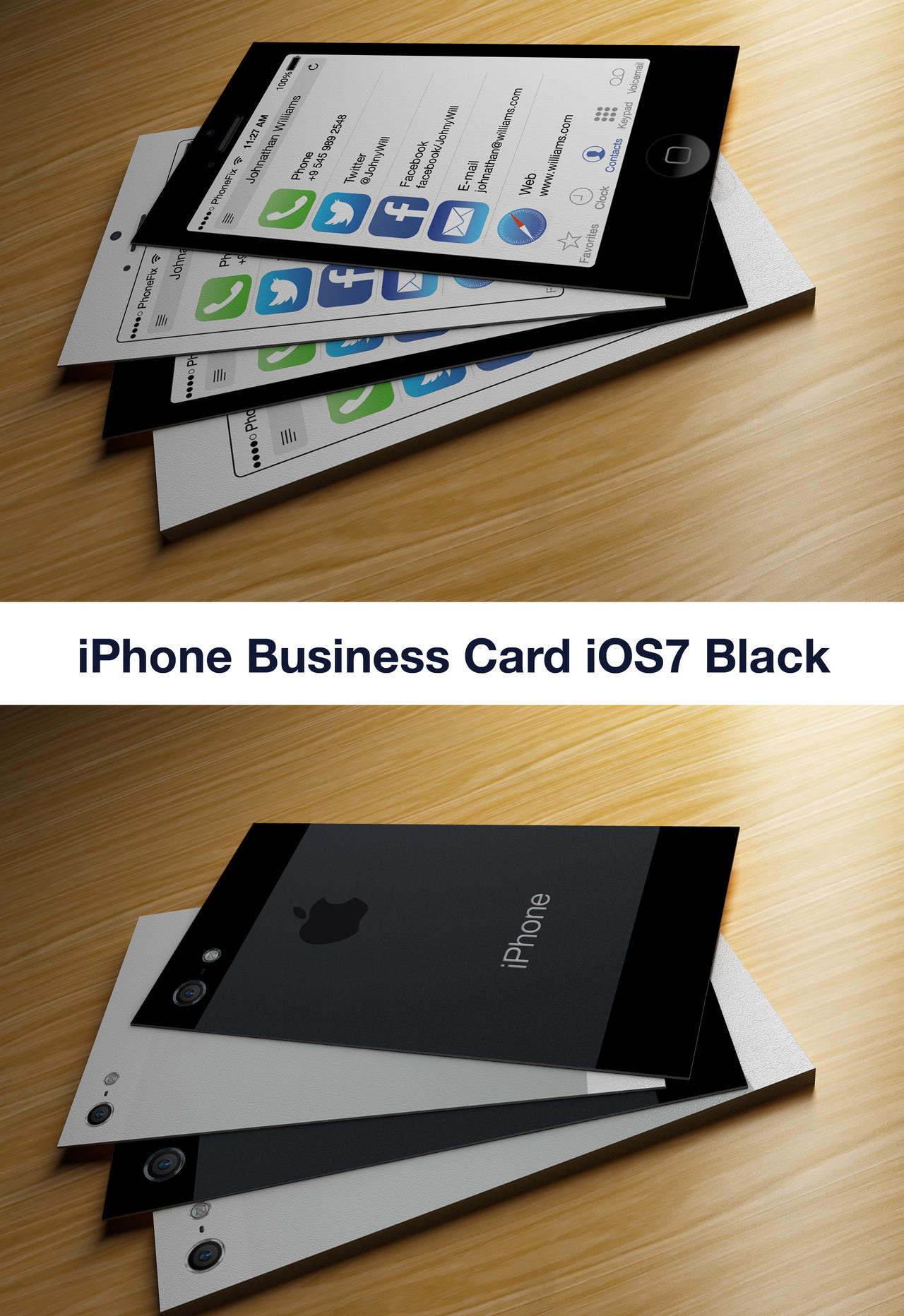 IPhone Business Card iOS7 Black by CaCaDoo on DeviantArt