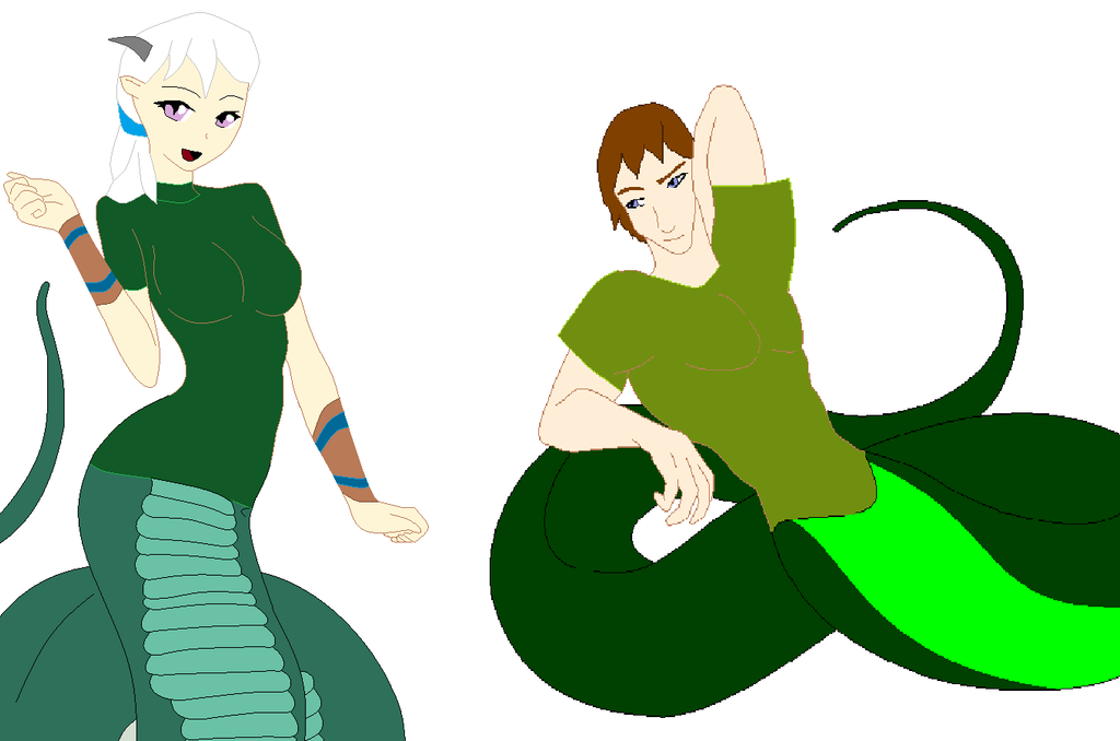 Briallan and Drew as Nagas by heart8822
