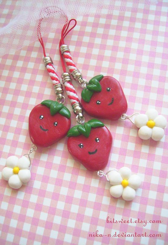 Dangle Strawberry Phone Charm by Nika-N