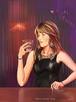 Alexa Crowe in a black dress