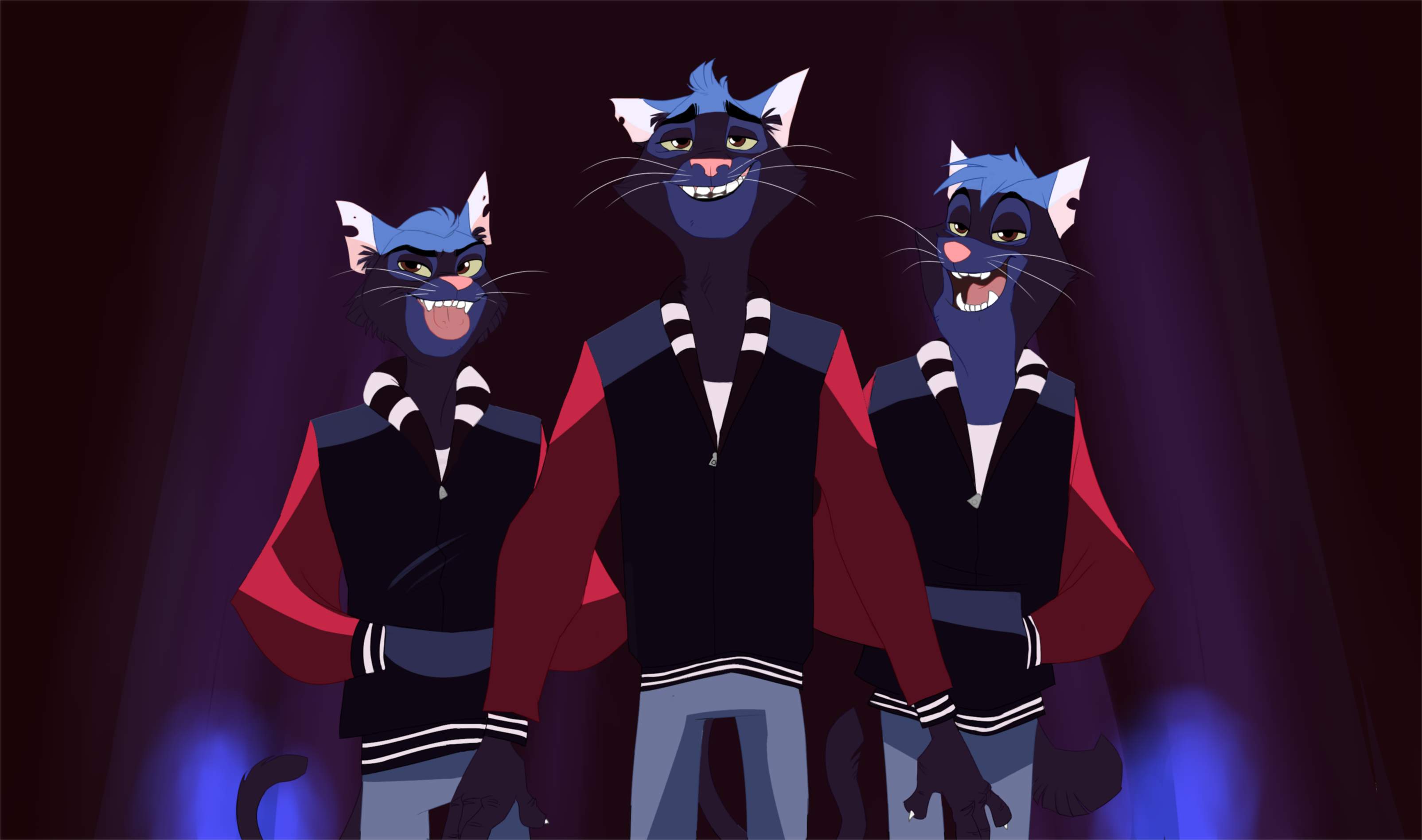 the Blue Cat trio by SuperCrazyHyena on DeviantArt