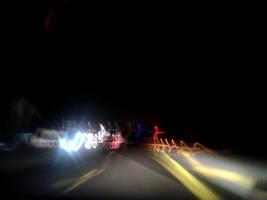 Headlights in night highway