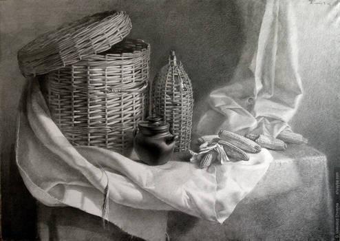 Shadows on wicker baskets
