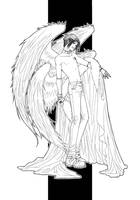Angel of Destruction - lineart by alatherna
