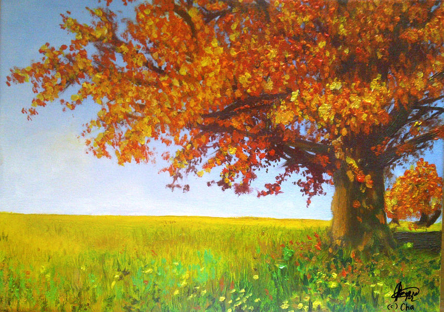 paintings of trees in autumn - photo #12