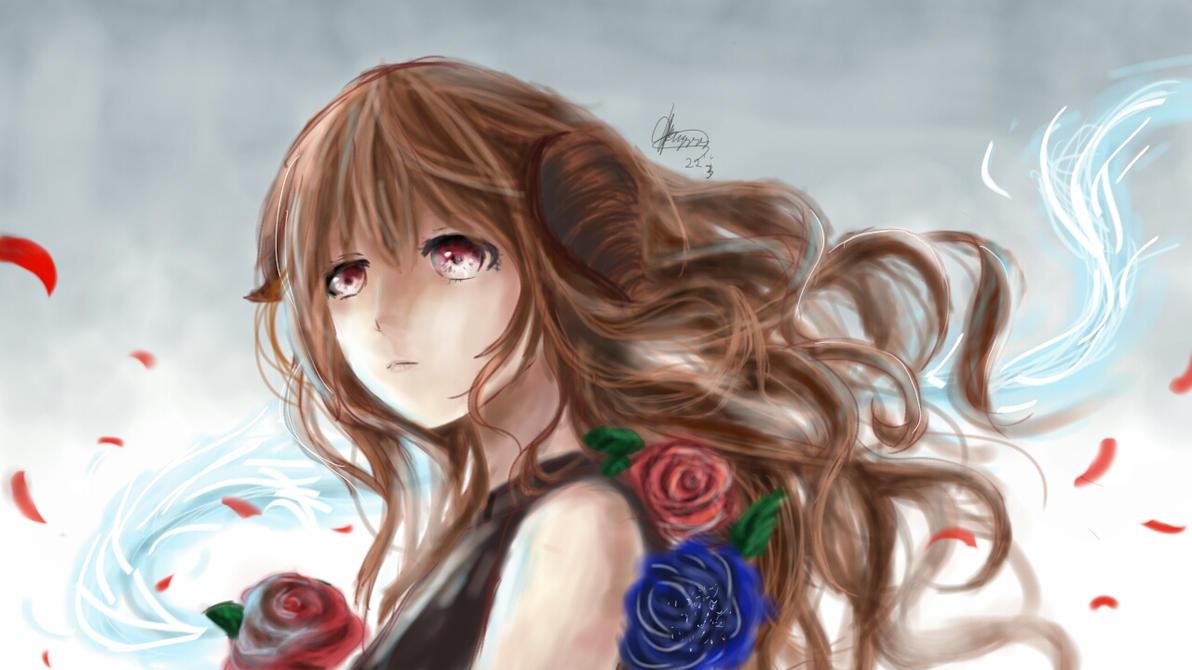 crimson blue blossom by chalollita