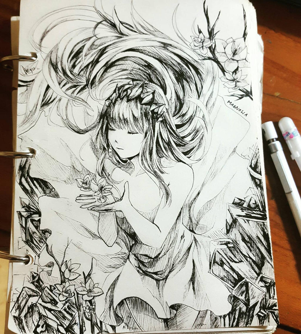 Magnolia - ink by chalollita