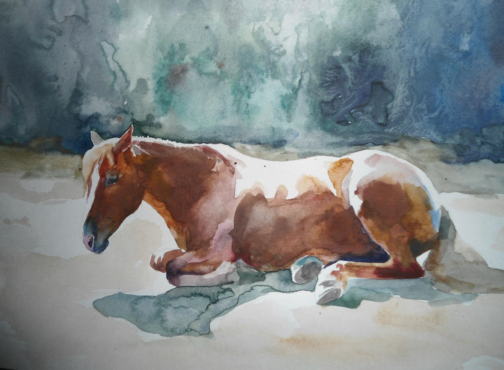 Resting horse, watrcolor by CristinaGrinciuc