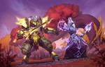 Lightforged draenei vs Nightborne (Fanart)