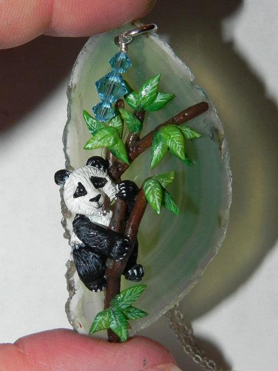 Baby Panda Bear in a Tree on Teal Agate Slice, One by Secretvixen