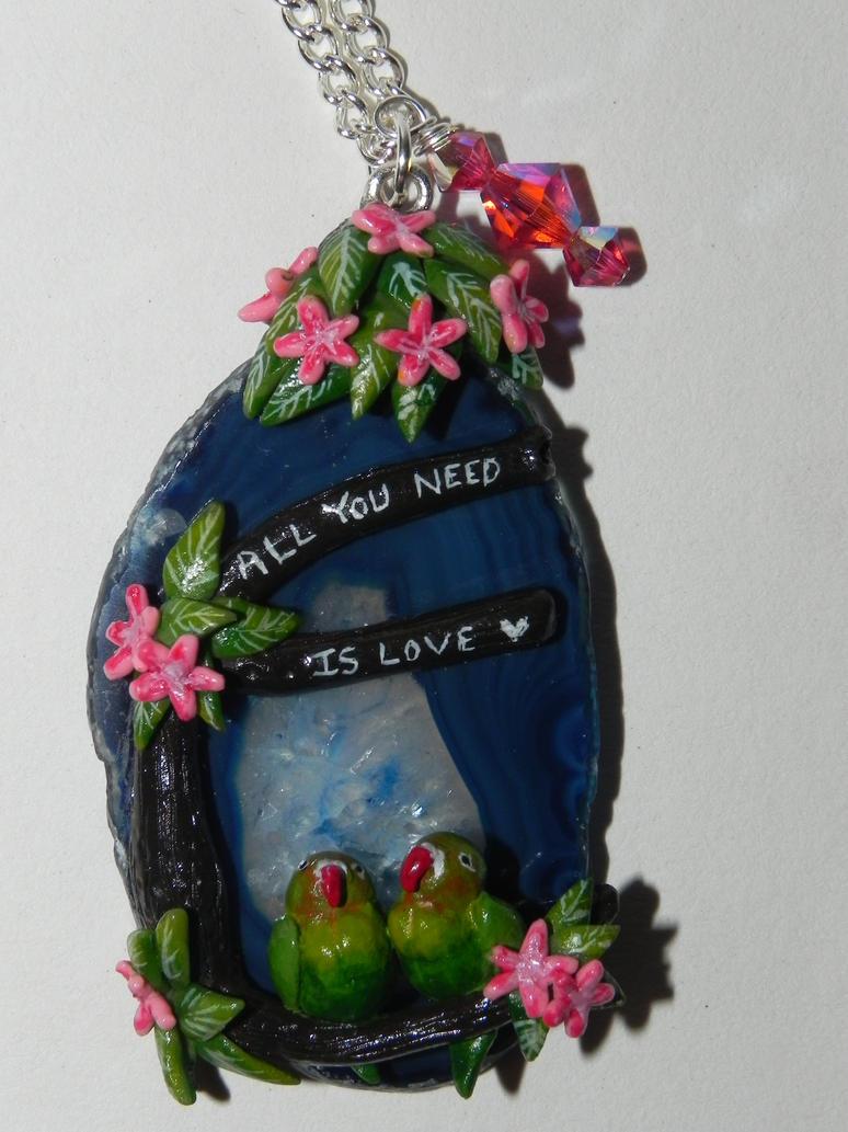 Lovebirds, All You Need Is Love, Agate Slice by Secretvixen