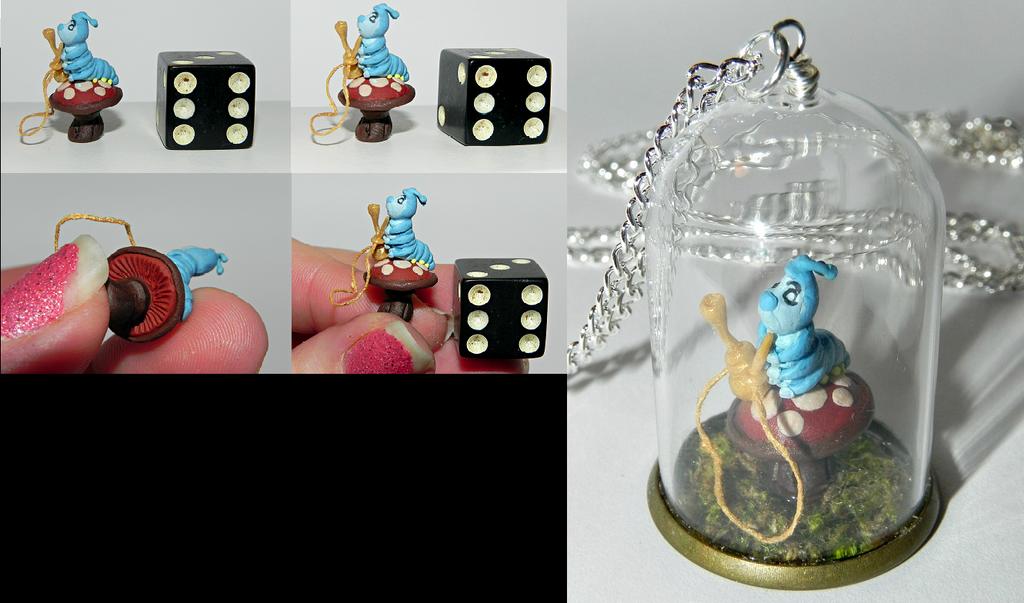 Who Are You? Caterpillar Alice in Wonderland Neckl by Secretvixen