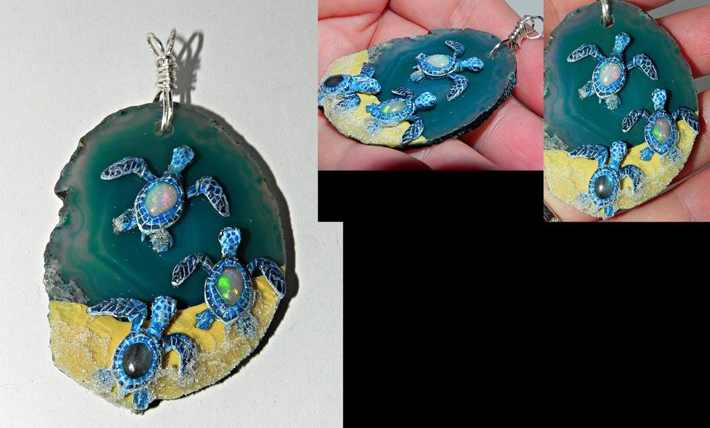 Fire Opal and Labradorite Baby Turtles Pendant by Secretvixen
