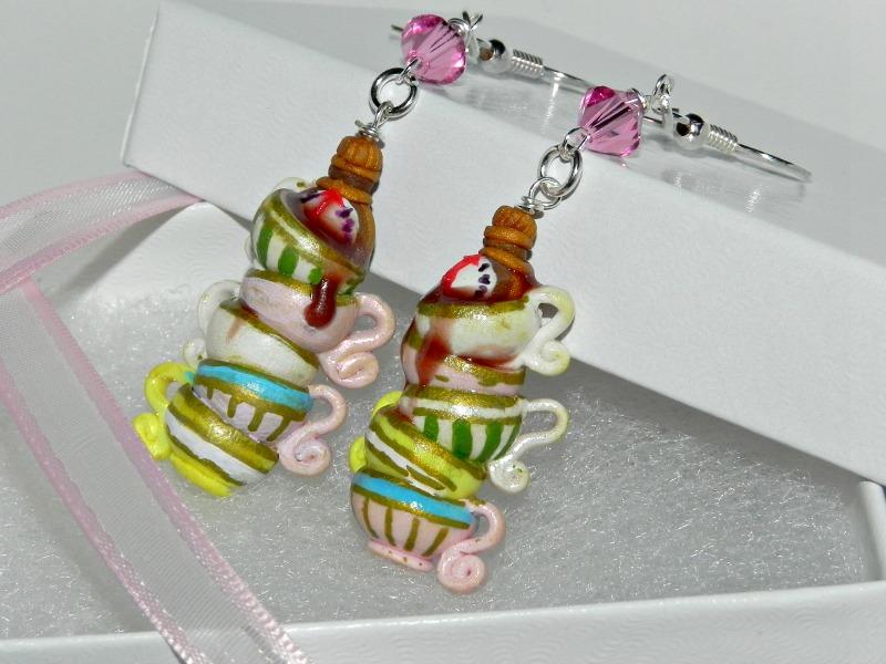 Tick Tock, It's Tea Time! Hand Sculpted Earrings by Secretvixen