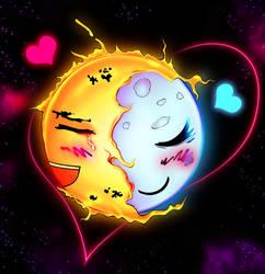 Sun and Moon Love by blackorb00