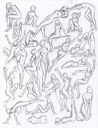 Figure drawing studies - poses by WMDiscovery93