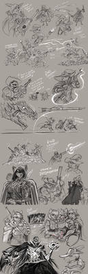 Gwen, Gwyn, and Haley - DnD Sketches!