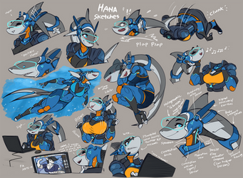 Hana the shark girl - Sketch Page!