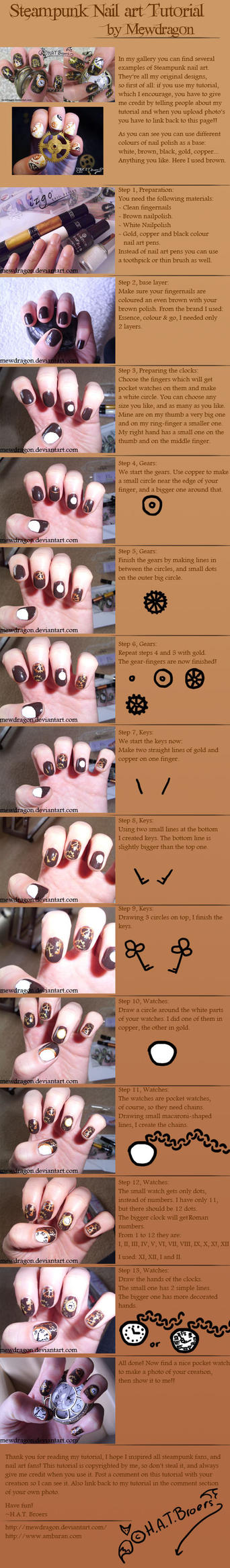 Steampunk Nailart Tutorial by Kythana