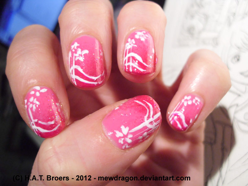 Pink gradient white flowers nailart by Kythana on DeviantArt