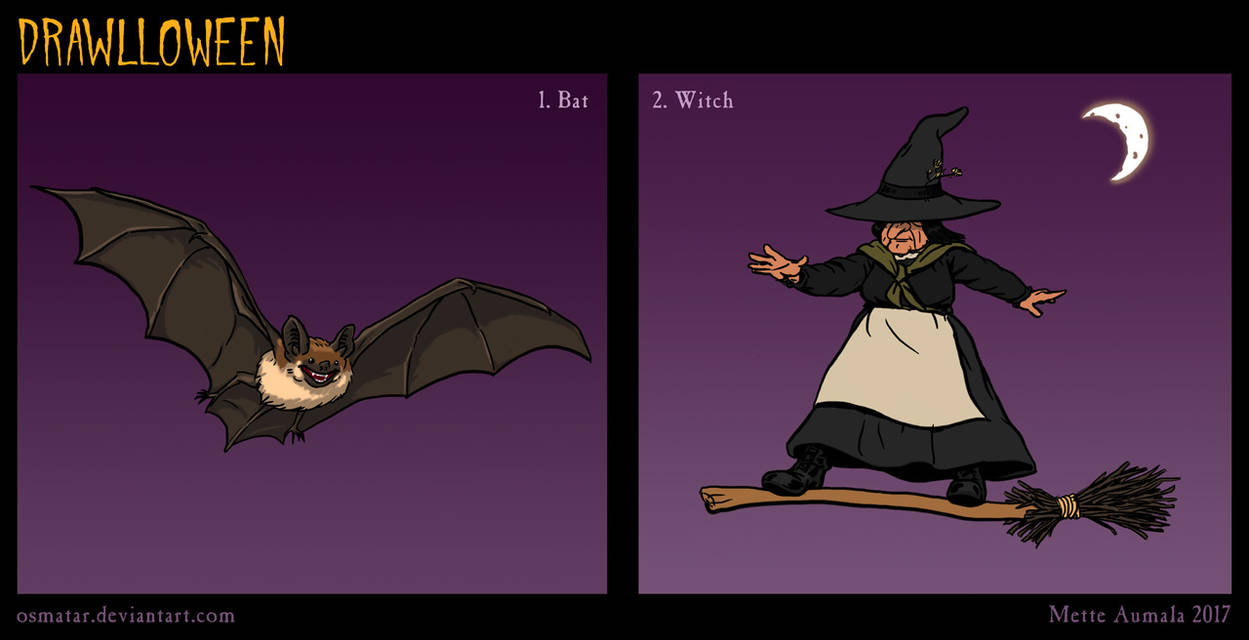 Drawlloween: Bat + Witch by Osmatar