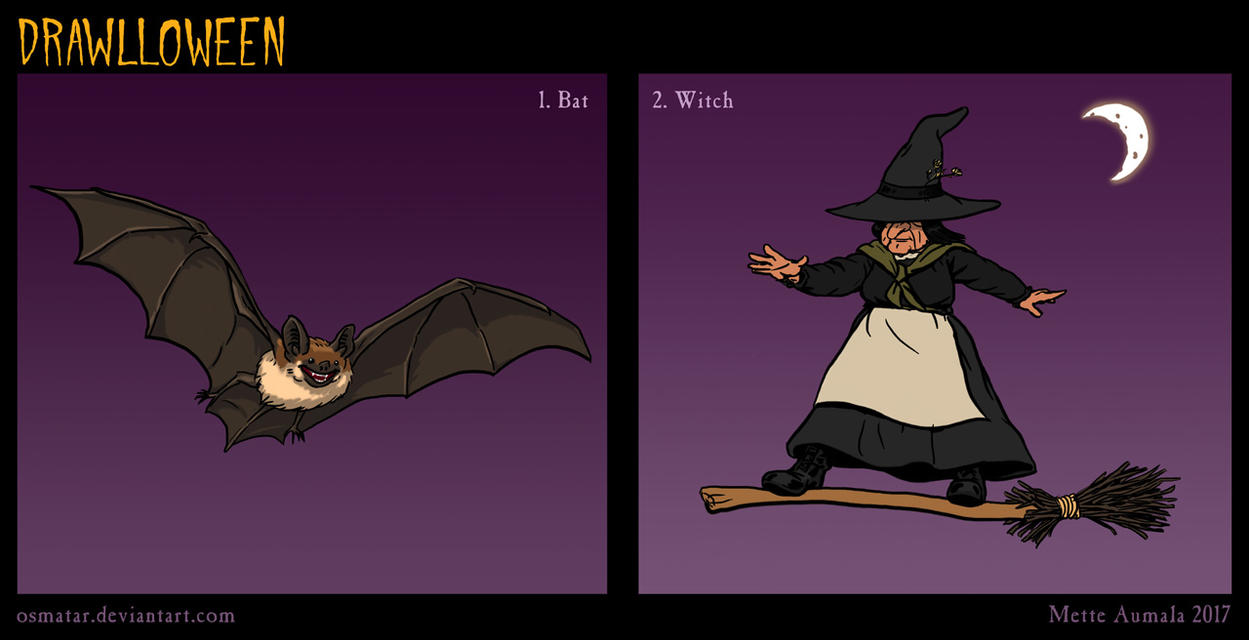 Drawlloween: Bat + Witch by Osmatar
