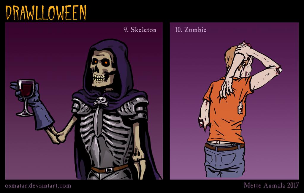 Drawlloween: Skeleton + Zombie by Osmatar
