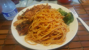 Spaghetti a la vodka w chicken parmesan. by adamnorde583