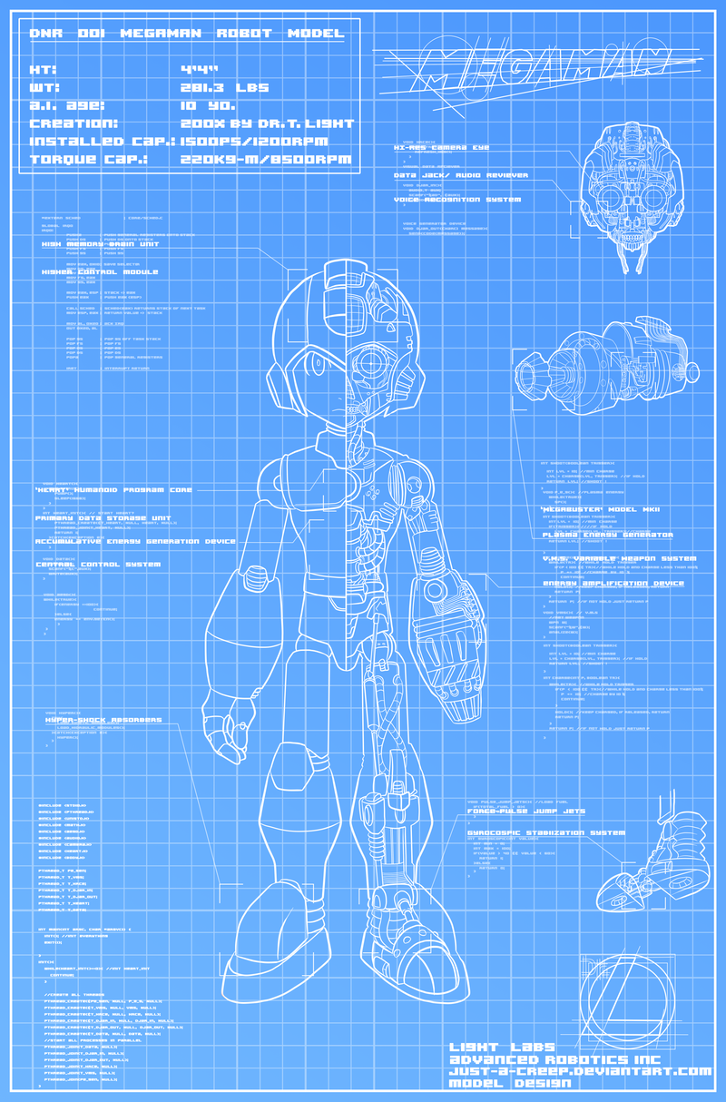 Megaman Blueprint By Felolira On Deviantart