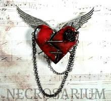 Cupid's Dying Heart Brooch by Necrosarium