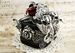 Ornate Silver Crow Skull Ring Box 3