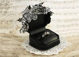 Ornate Silver Crow Skull Ring Box 3 by Necrosarium