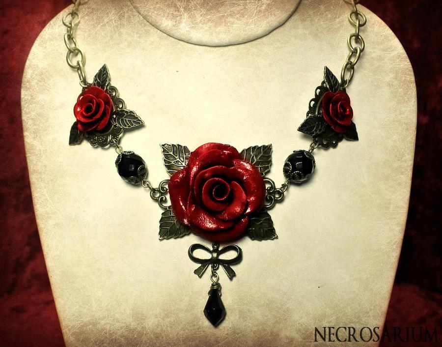 Triple Rose Necklace by Necrosarium