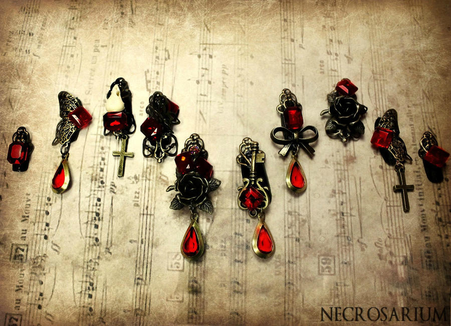 Jeweled Gothic Visual Kei Nails by Necrosarium