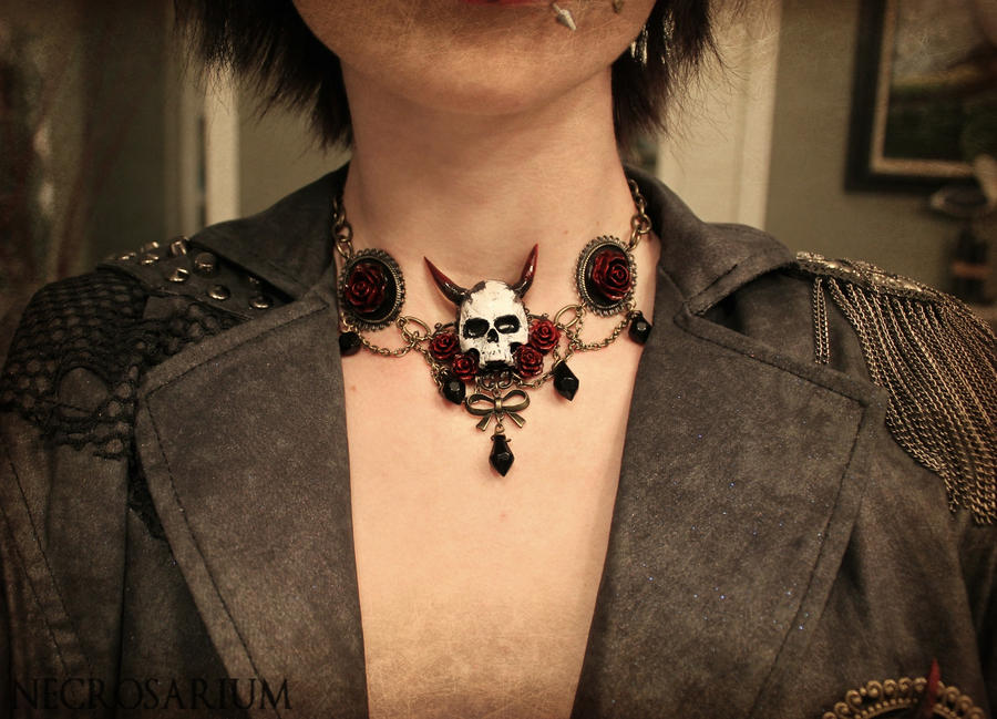 Wearing Demon Skull Choker by Necrosarium