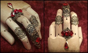 Jeweled Visual Kei Claw Ring Set by Necrosarium