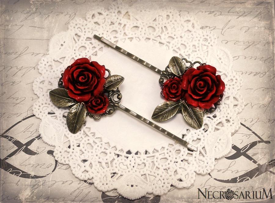 Rose Leaf Hair Pins by Necrosarium