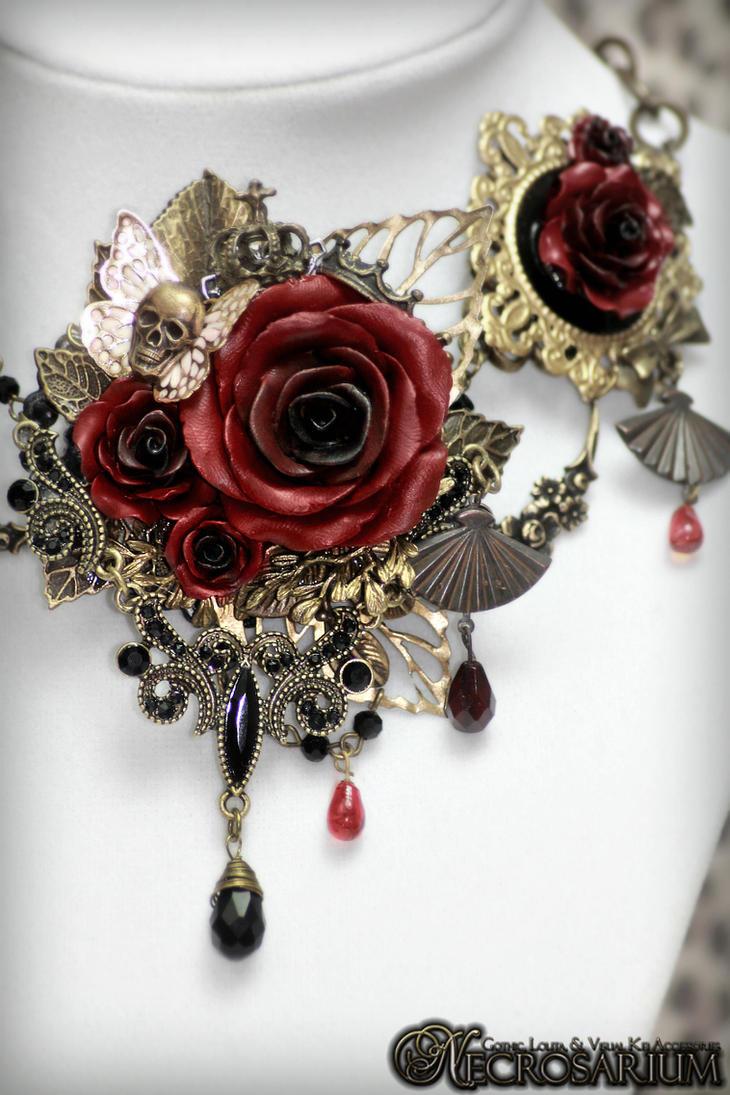 Versailles Rose Necklace 1 Detail 2 by Necrosarium