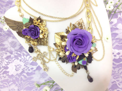 Versailles Rose Necklace (Lilac and Mint)