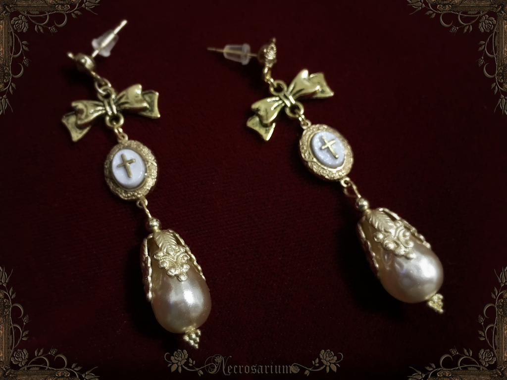Immaculate Pearl Earrings by Necrosarium