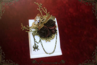 Web in the Roses Brooch O3118 by Necrosarium