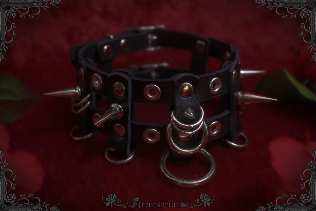 Grommets and Spikes Cage Collar by Necrosarium