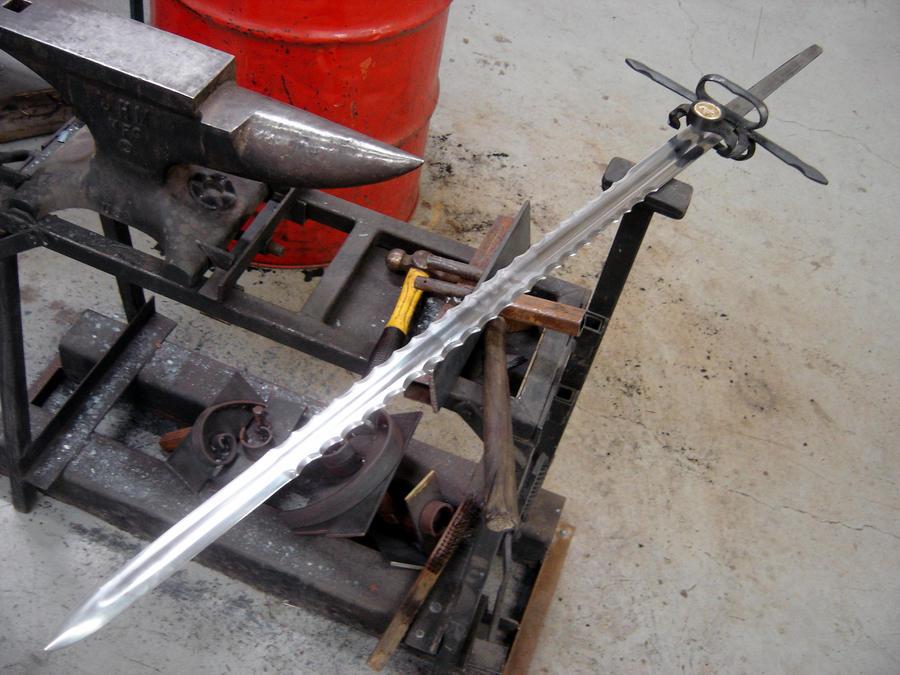 Serrated bastard sword WIP 5 by HellfireForge