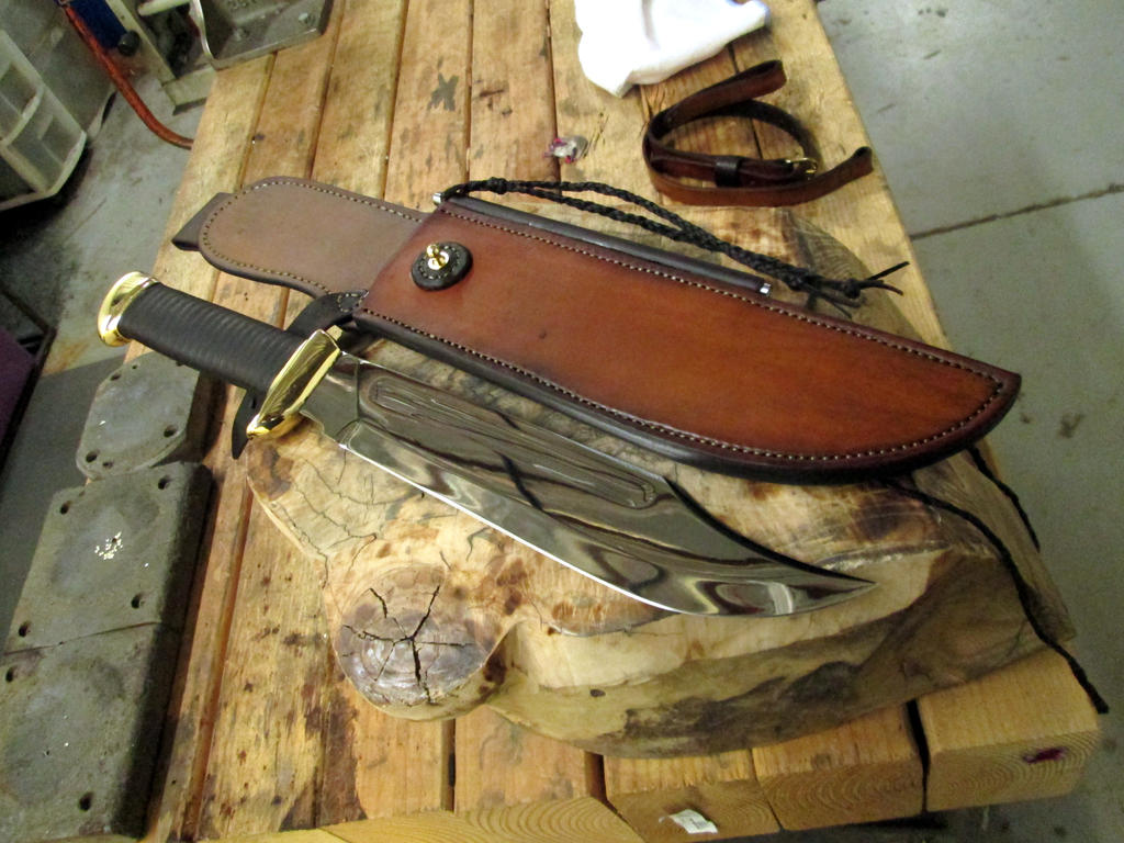 Dundee Style Bowie Knife and Sheath by HellfireForge