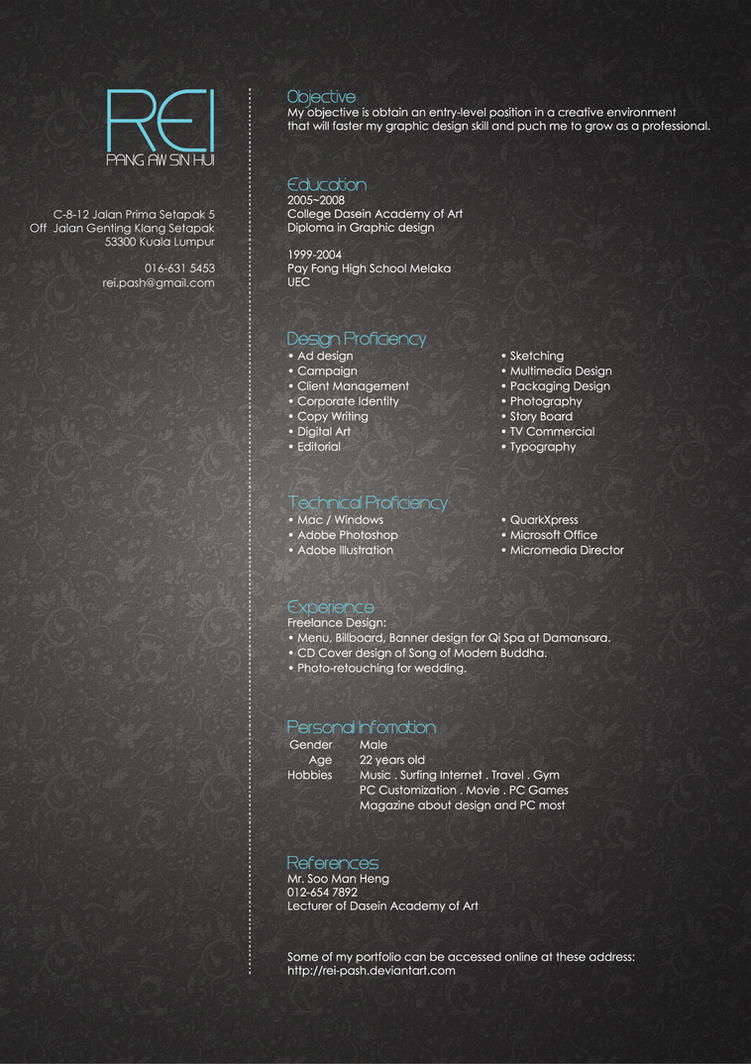 rei s resume by rei pash on rei s resume by