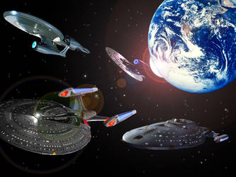 Star Trek ships, old and new by PeasAndRice