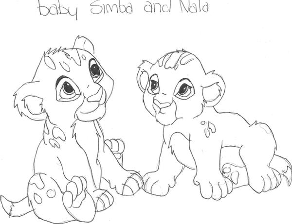 Baby simba and nala by livelaughlove101 on deviantart for Simba and nala coloring pages