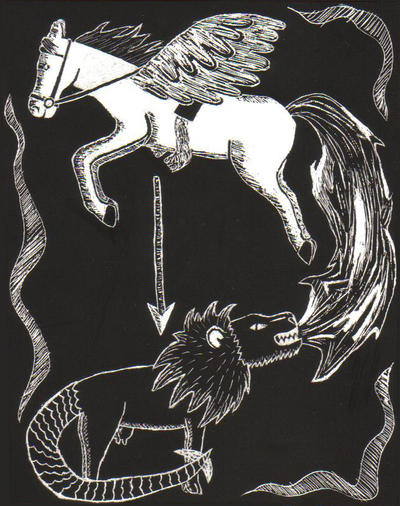 Pegasus and the Chimera by Spirit-of-Cavalia